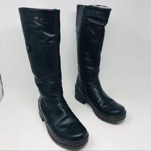 Rieker Sybille 72 Shearling Black Tall Boots 38